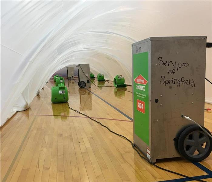 Water Damage Gym Floor Drying